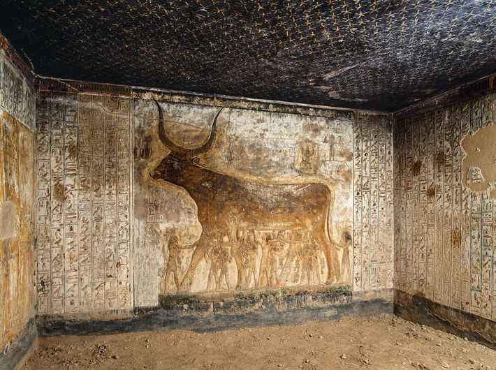The second annex features several gods holding a cow, an animal form of Nut, goddess of ...