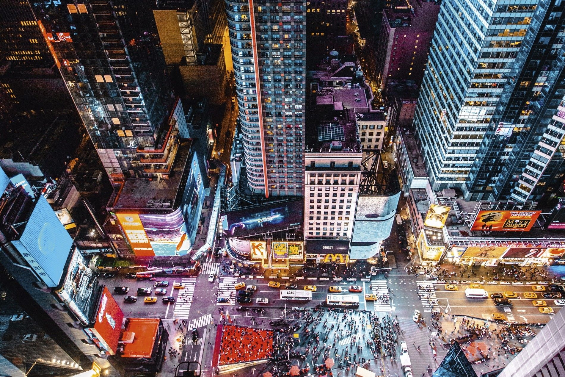 Looking down on Times Square, New York City.