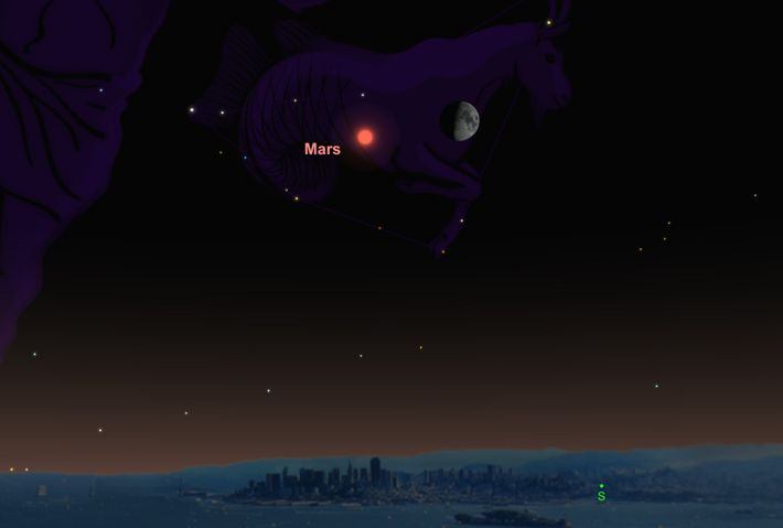 Mars and the moon will be relatively close in the night sky on October 17.