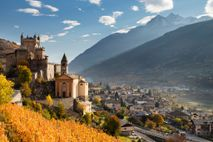 A vineyard rises to the 12th-century castle of Saint Pierre in the Aosta Valley.