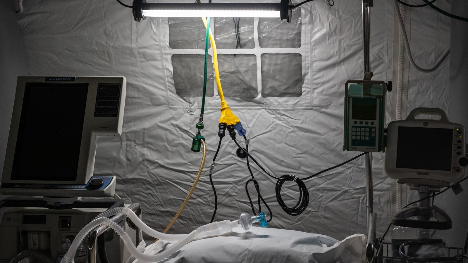 With its hospitals overwhelmed by COVID-19 cases, New York City is relying on makeshift intensive care ...