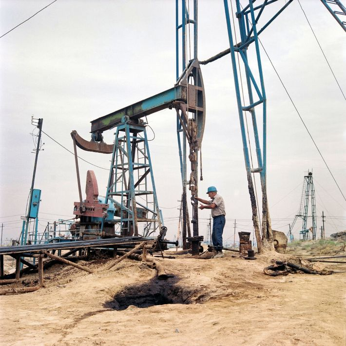 Soviet-era oil rigs still operate in Balakhani village, where the industrial boom of Baku started in ...