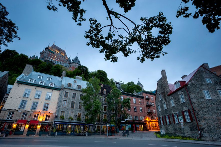 Shops line a block in the Historic District of Old Quebec in Quebec City, Canada.