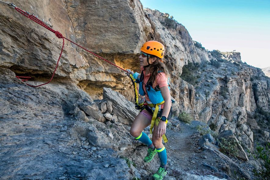 Most running races do not include steep scrambles up rock walls or clipping into the iron ...