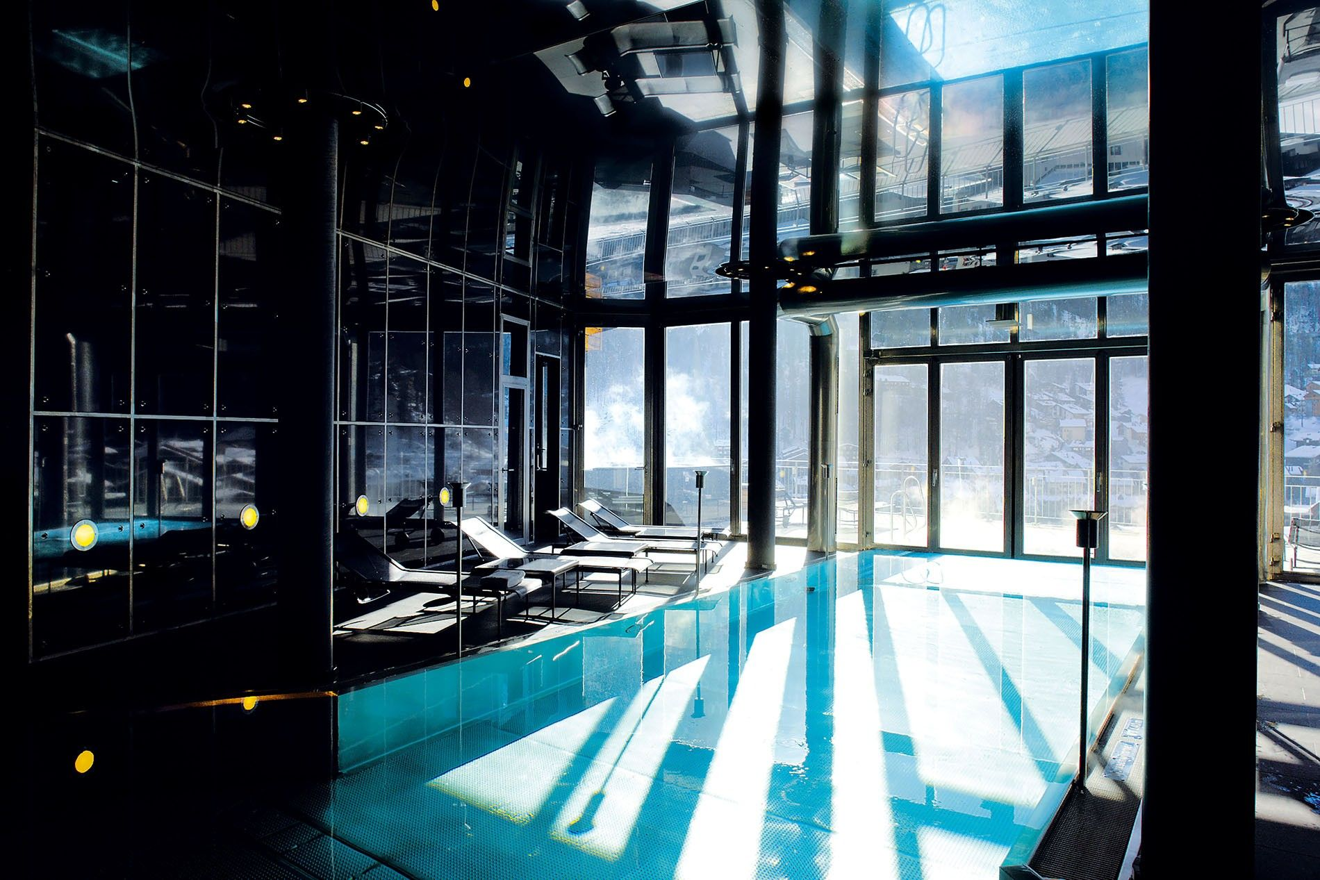 The spa at The Omnia, Zermatt includes an indoor/outdoor pool, as well as an outdoor whirlpool with a view of Zermatt and the Matterhorn.