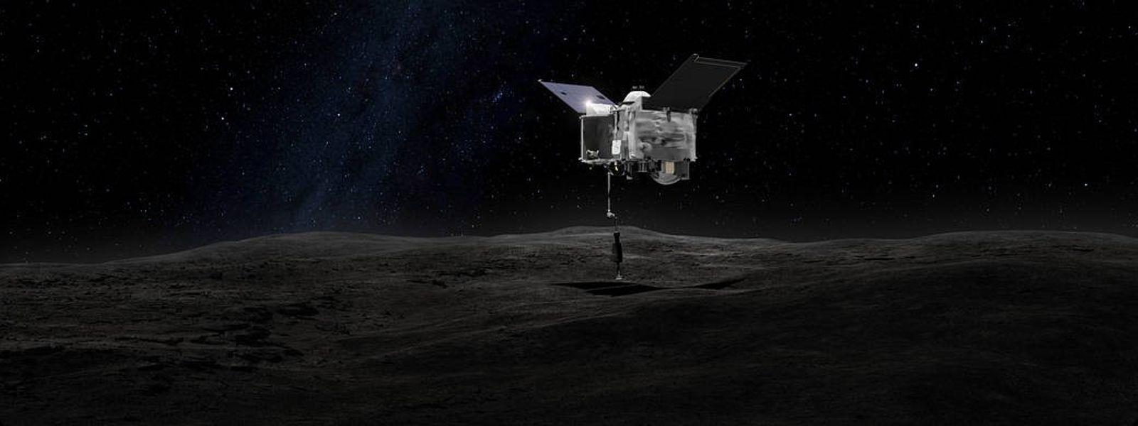 The Origins Spectral Interpretation Resource Identification Security - Regolith Explorer (OSIRIS-REx) spacecraft contacting the asteroid Bennu. ...