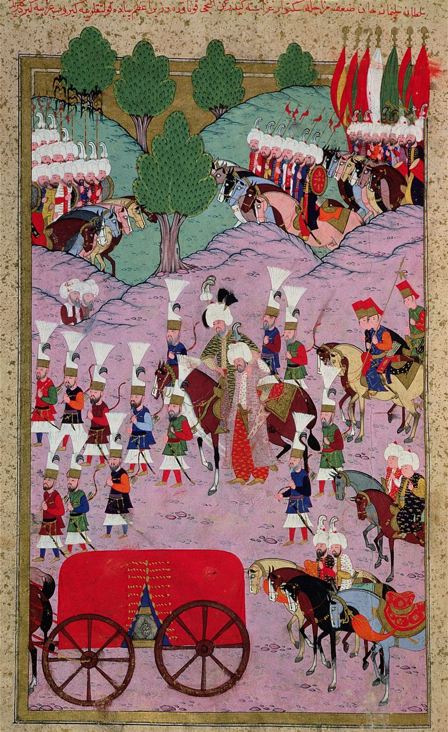 This 16th-century miniature painting depicts the army of Süleiman the Magnificent marching into Europe.
