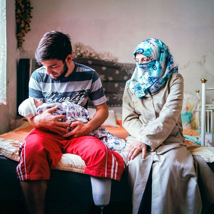 İ., 20, and A., 17, with their 5-day-old baby at their home in Kayseri. The couple ...