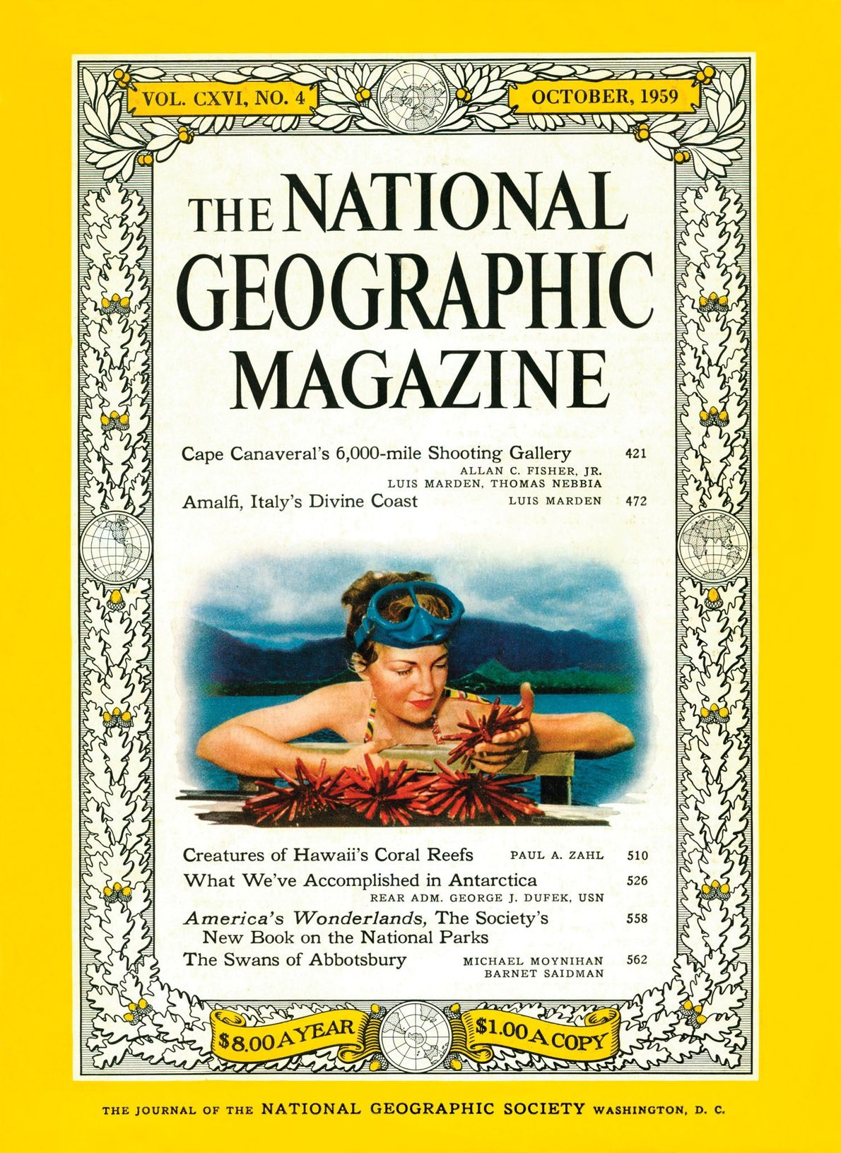 The first woman on the cover was Eda Zahl, shown gathering sea urchins.