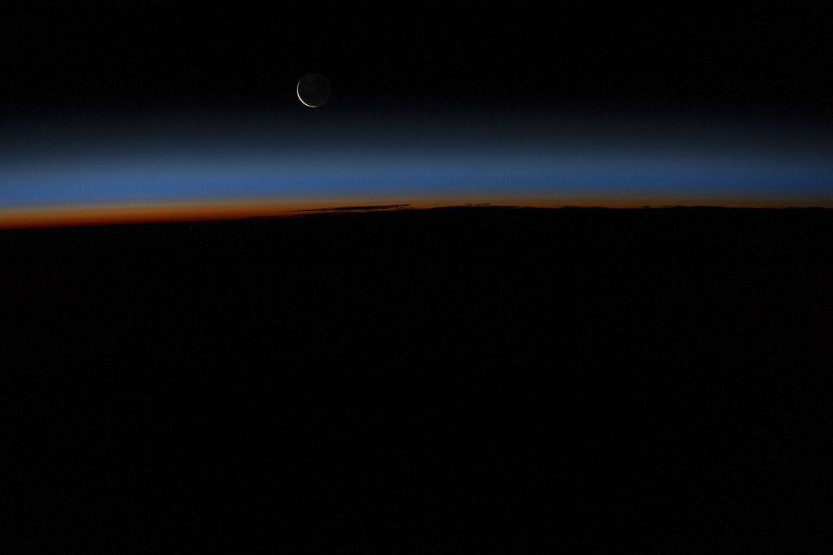 """A crescent moon. One of the experiments Terry Virts performed in space was appropriately named """"Moon""""— ..."""
