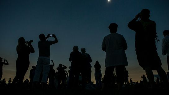 In Madras, Oregon, people watch the total eclipse in 2017.