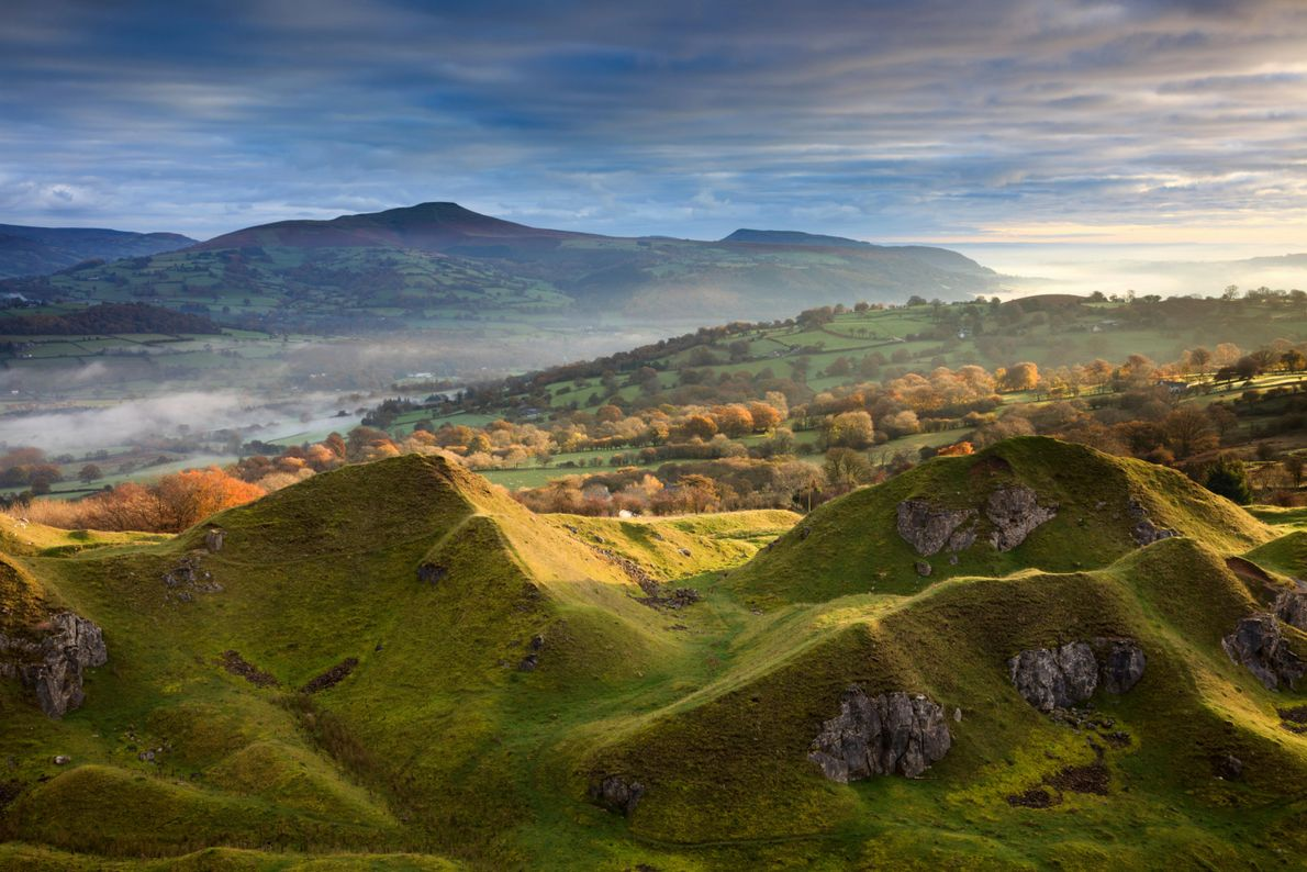 The Llangattock Escarpment in the Brecon Beacons National Park. This area was once a limestone quarrying ...
