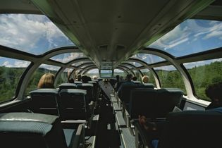 Experience the splendour of Canada's natural beauty in the Dome car, which offers panoramic views of ...