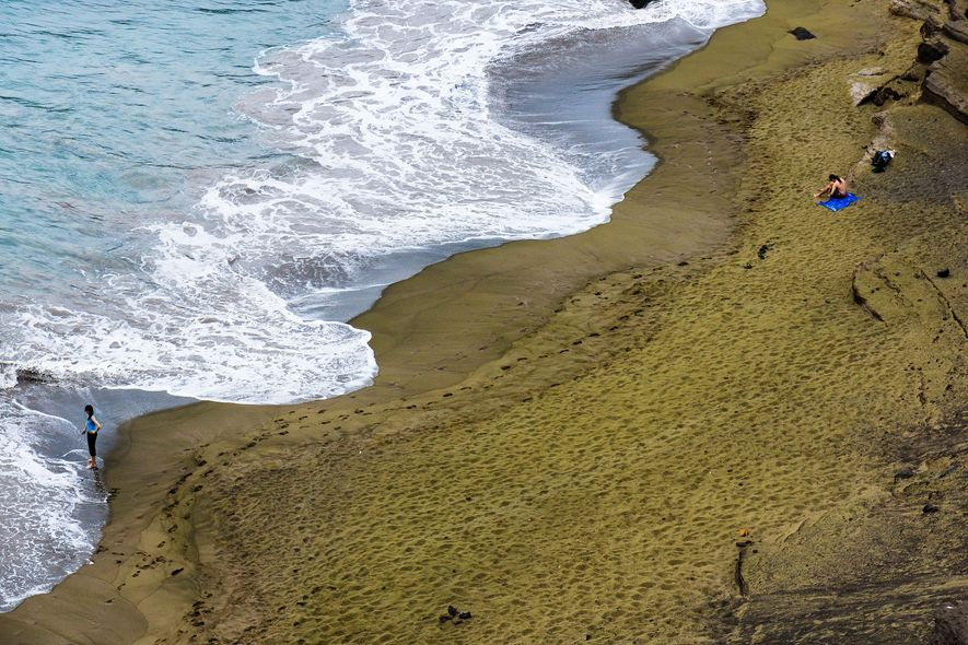 What may look like grass from afar, is really the Green Sands Beach on the Big ...
