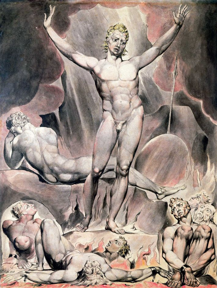 Inspired by Milton's poem 'Paradise Lost', William Blake's 1808 engraving depicts Satan inciting the rebel angels ...