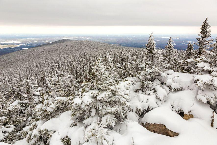 Snow covers Mont-Mégantic National Park in Quebec, Canada.
