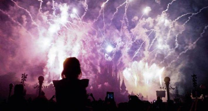 A firework finale at Disneyland Paris