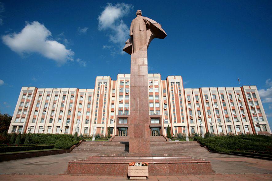 Lenin towers over the Parliament building in Tiraspol, the de-facto capital of Transnistria.