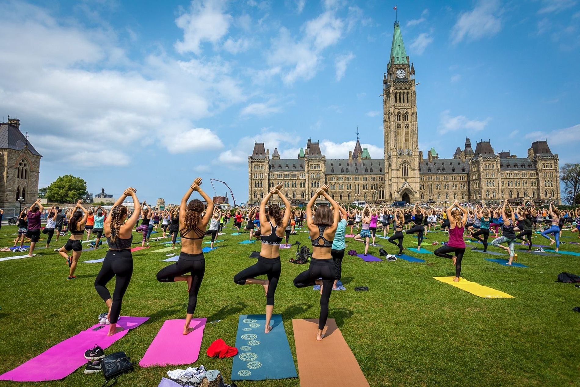 Throughout the summer, yoga enthusiasts head to Parliament Hill for free yoga classes.