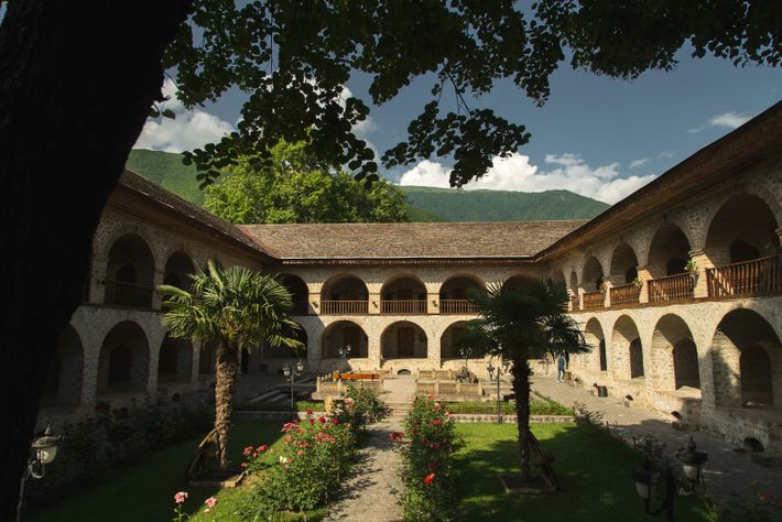 The perfectly preserved Sheki Caravanserai still functions as a hotel and walk-in visits to the courtyard ...