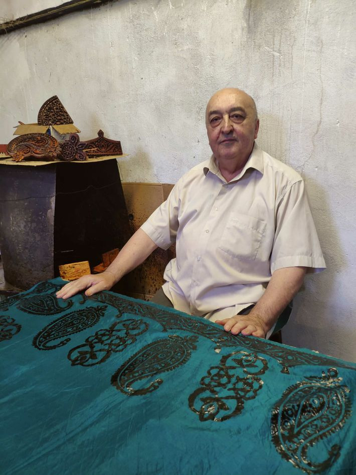 67-year-old Amiraslan's family have been decorating kelaghayi scarves for over 200 years.