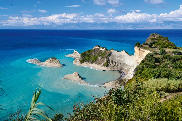 Cape Drastis, Corfu's most northerly point, is home to sheer white cliffs and other dramatic rock ...