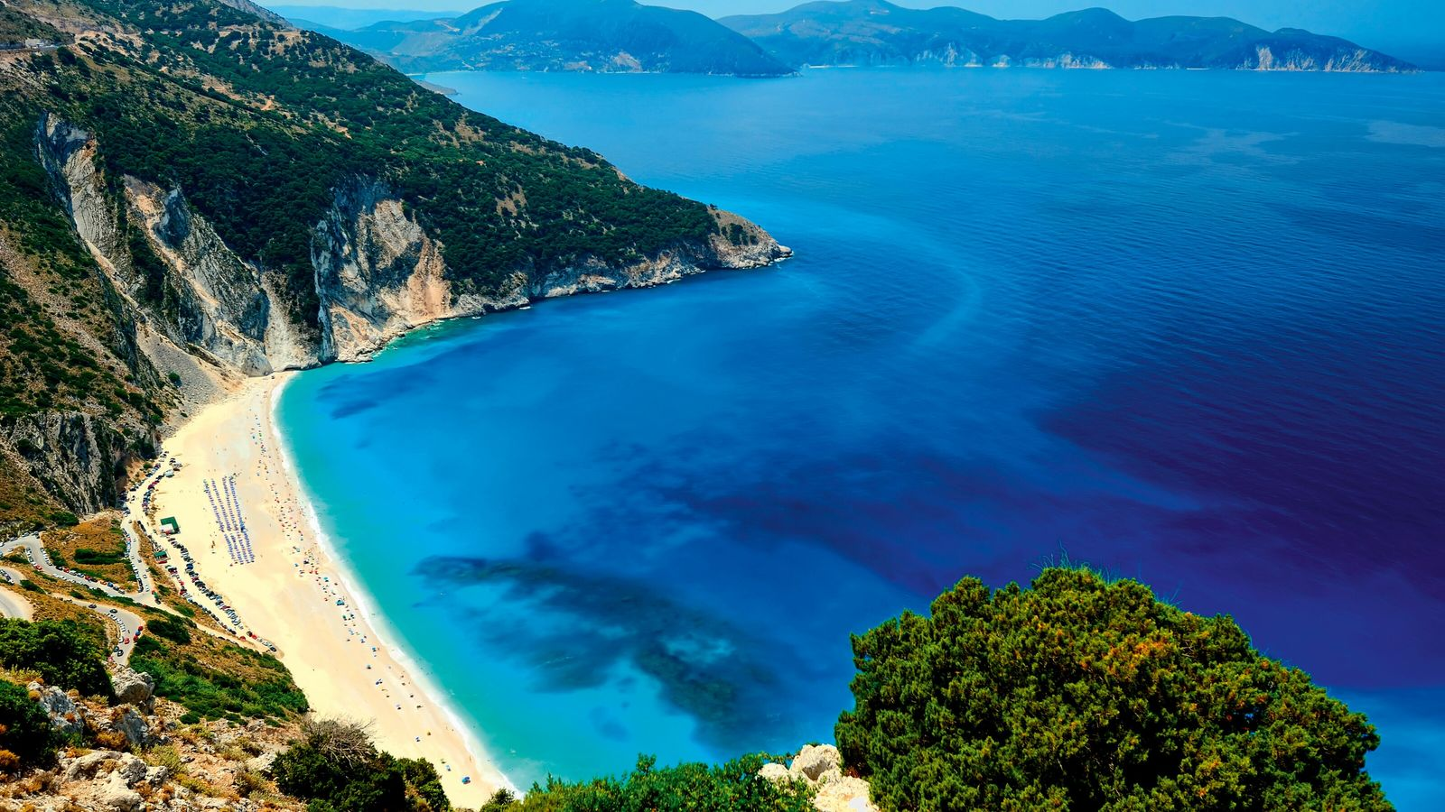 The largest of the Ionian islands, Kefalonia is home to the beautiful Myrtos beach.