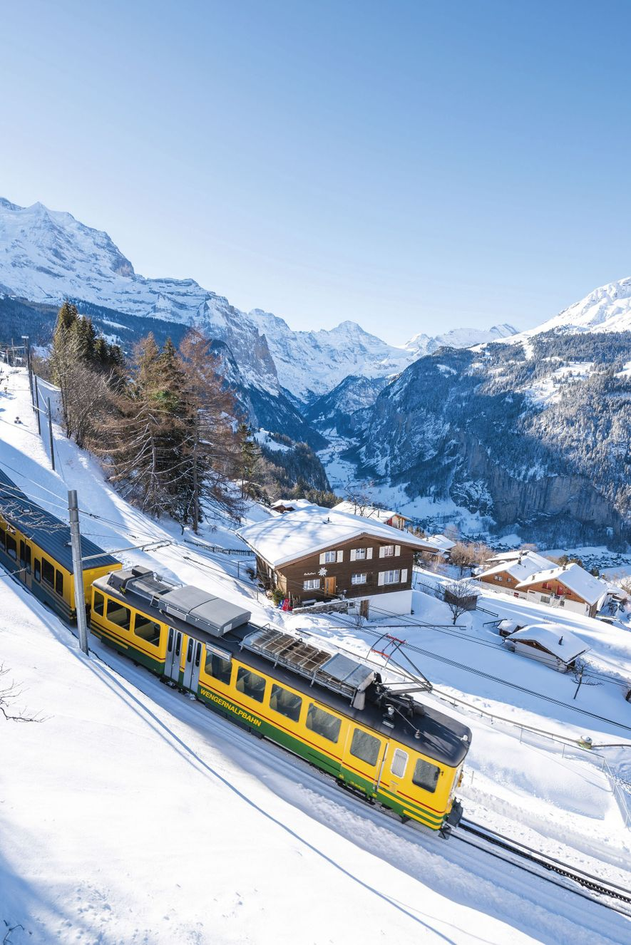 Car-free Wengen, in the middle of the Grindelwald and Mürrencam ski resorts, can only be reached only by a cog railway.
