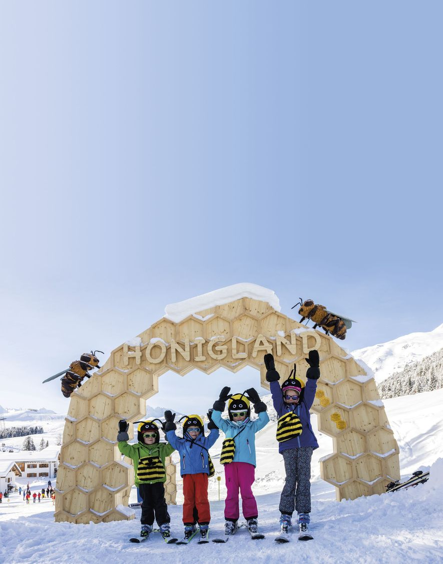 Youngsters at Honigland, Arosa. The resort is a popular destination for skiing families, with six dedicated children's areas and a plethora of gentle blue pistes.