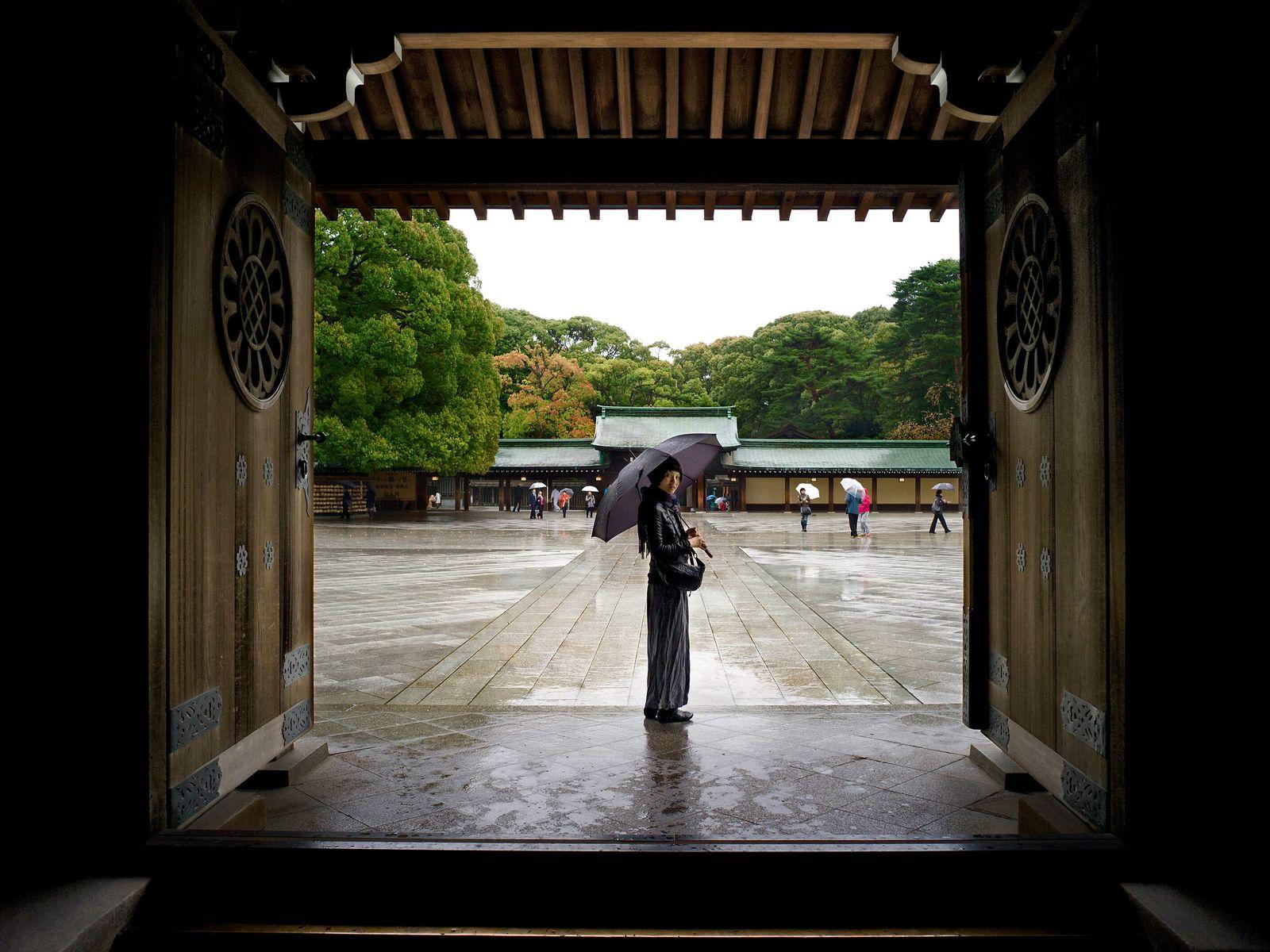 A traditional doorway at the Meiji Jingu shrine in Shibuya.