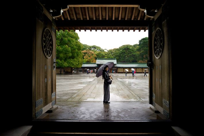 A traditional doorway at the Meiji Jingu shrine in Shibuya.