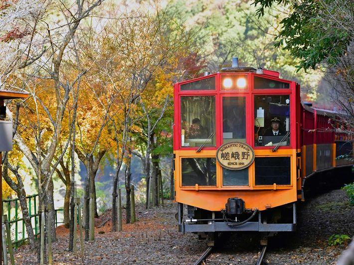 Sagano Romantic Train running through the Saga-Arashiyama area of western Kyoto.