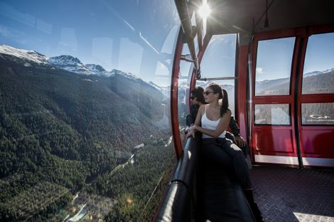 The Peak 2 Peak Gondola connects Whistler Mountain's Roundhouse Lodge with Blackcomb Mountain's Rendezvous Lodge in ...