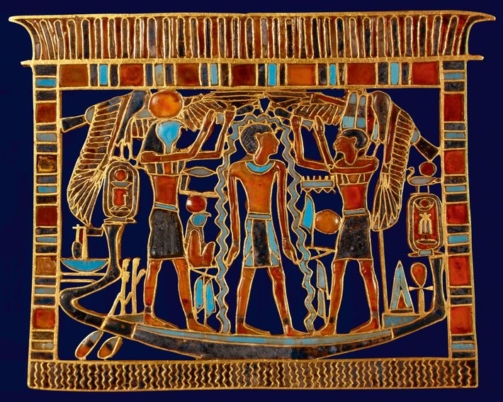 Objects accompanied the dead on their journey, such as the pectoral depicting Ahmose I, found in ...