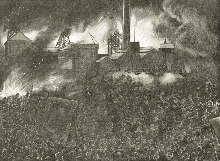 Soldiers firing on a crowd demonstrating at the colliery gates of Ackton Hall Pit, Yorkshire, during ...