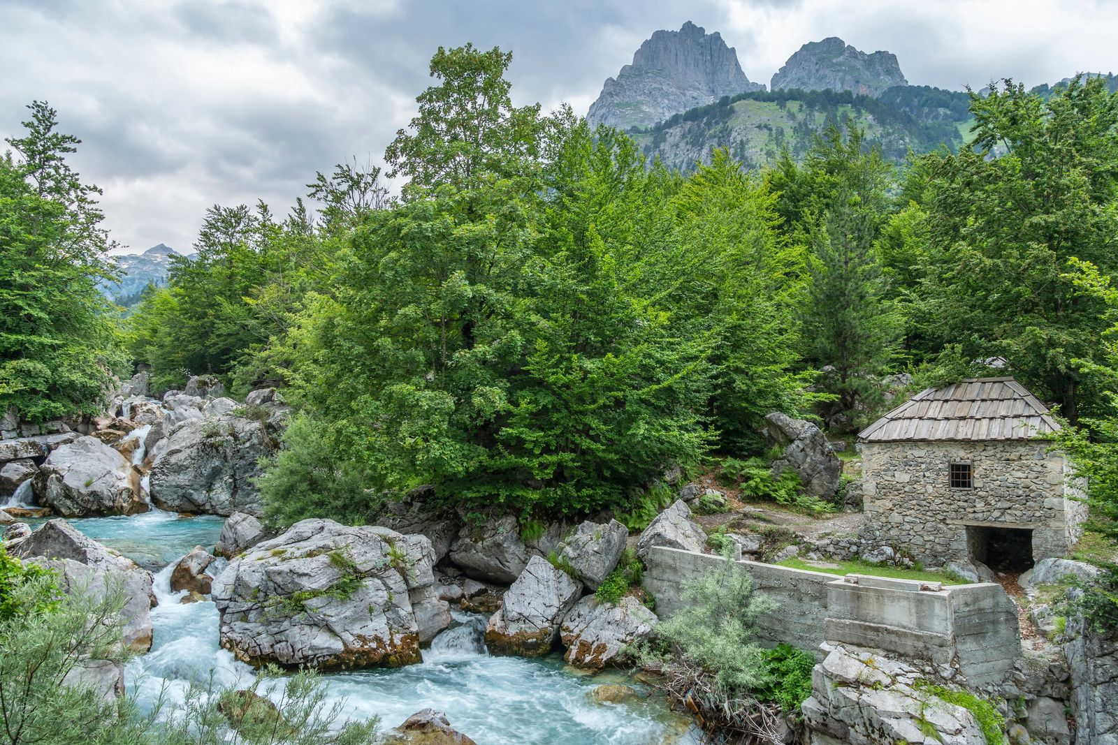 A water mill in the Valbona River Valley, Valbona National Park. This region of Albania is ...