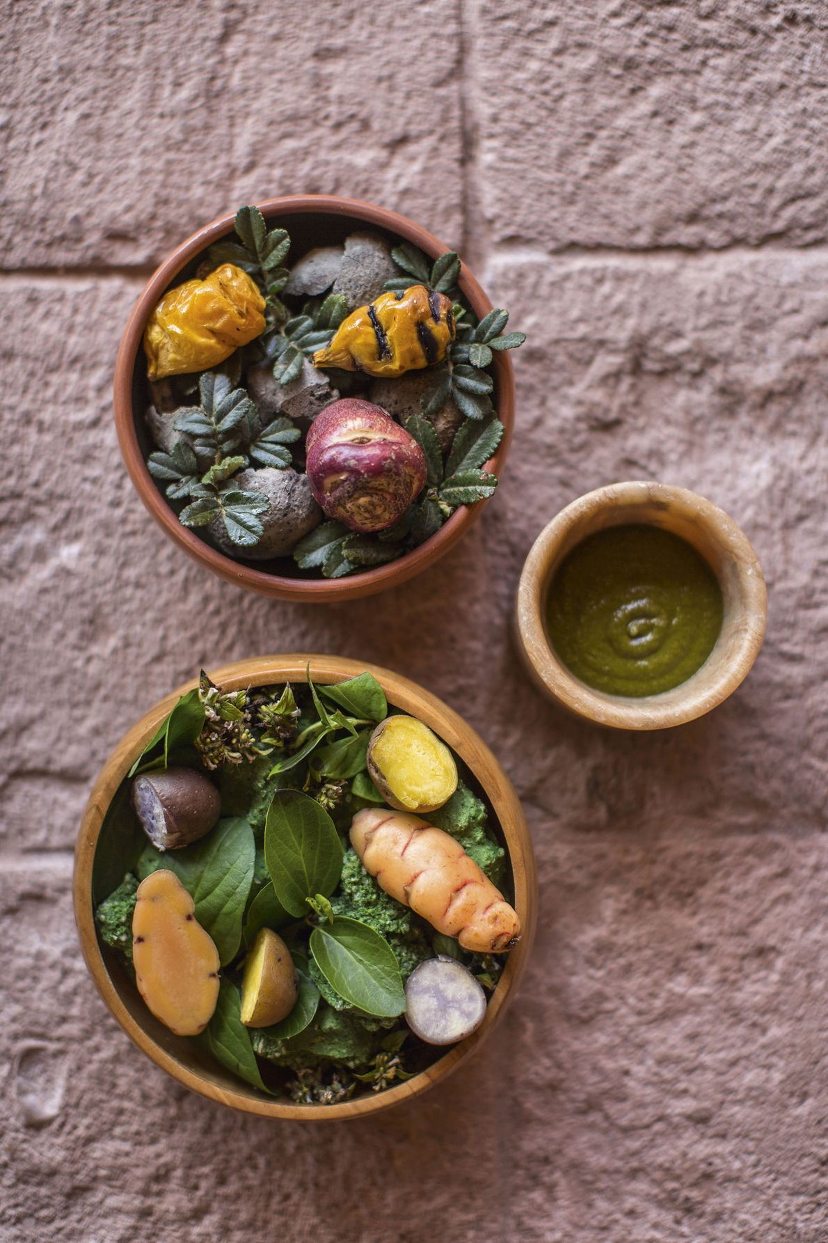 Root vegetables in dishes