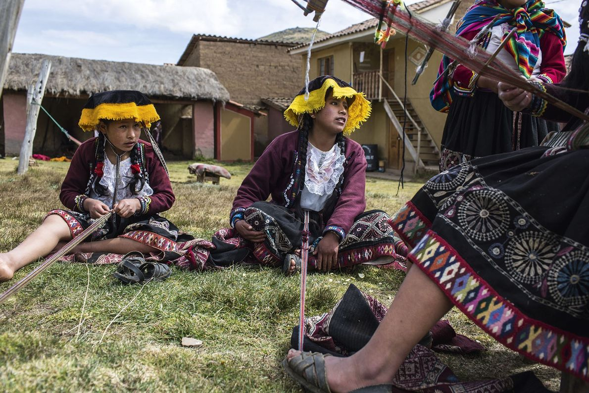Local girls from the district of Chinchero