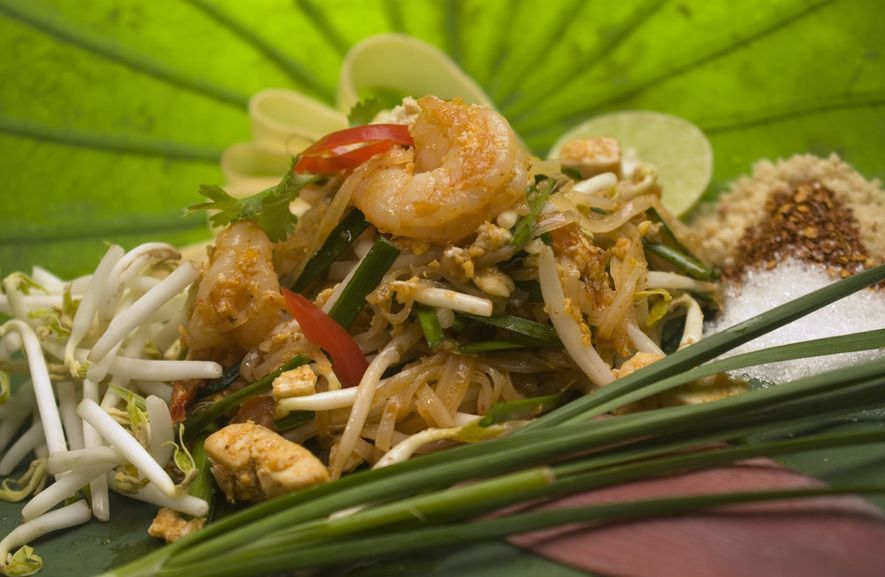 Pad thai — a classic staple of Thai street food.
