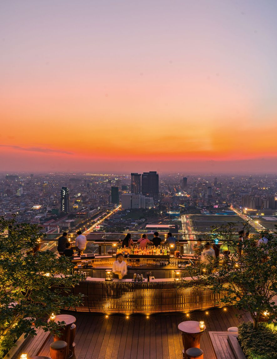 Sora Skybar, the highest bar in Phnom Phen, offers great views of the city at sunset.