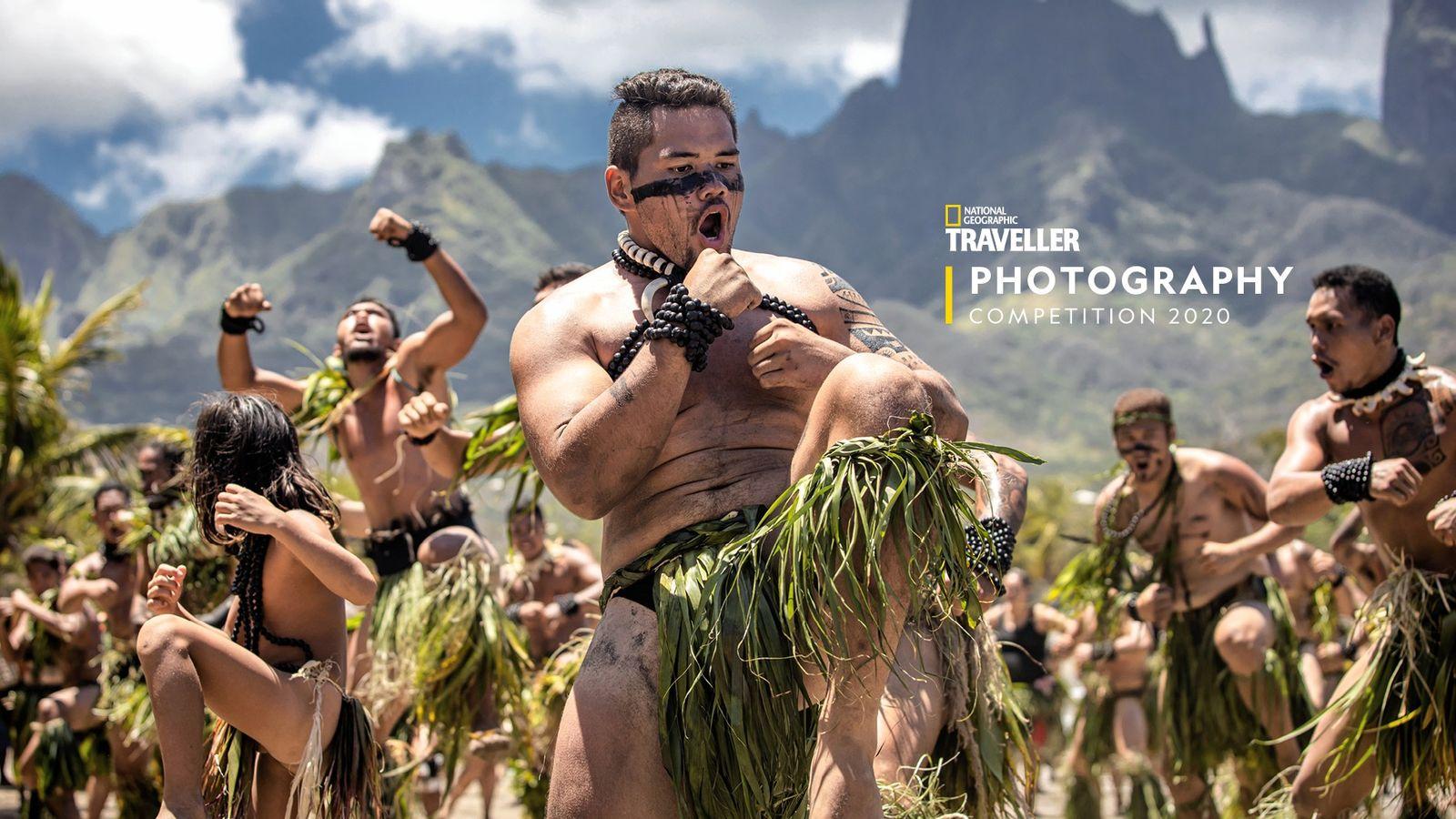 Performing the haka, Ua Pou island, French Polynesia.