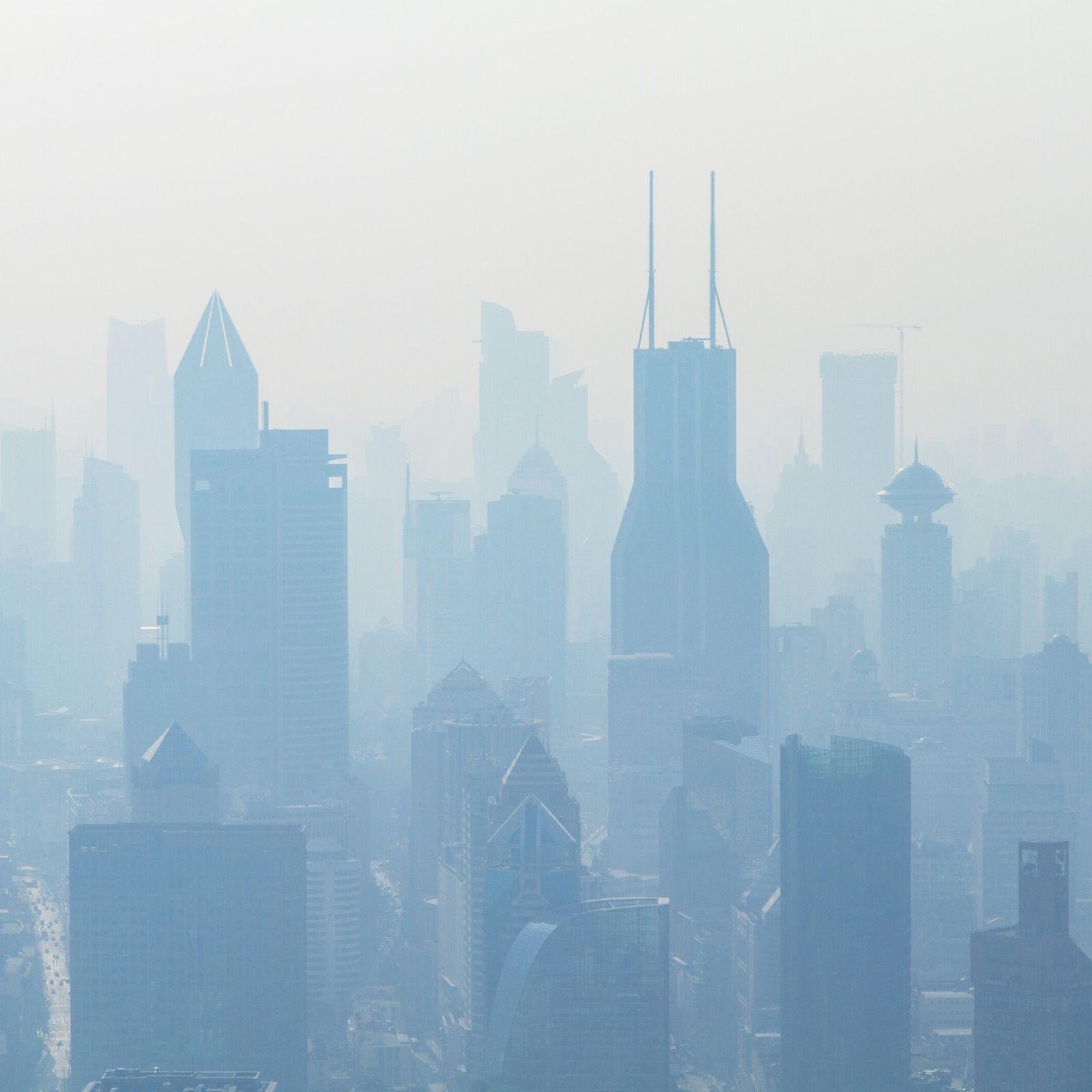 A smoggy view of Shanghai, China – third most populous city in the world and one ...