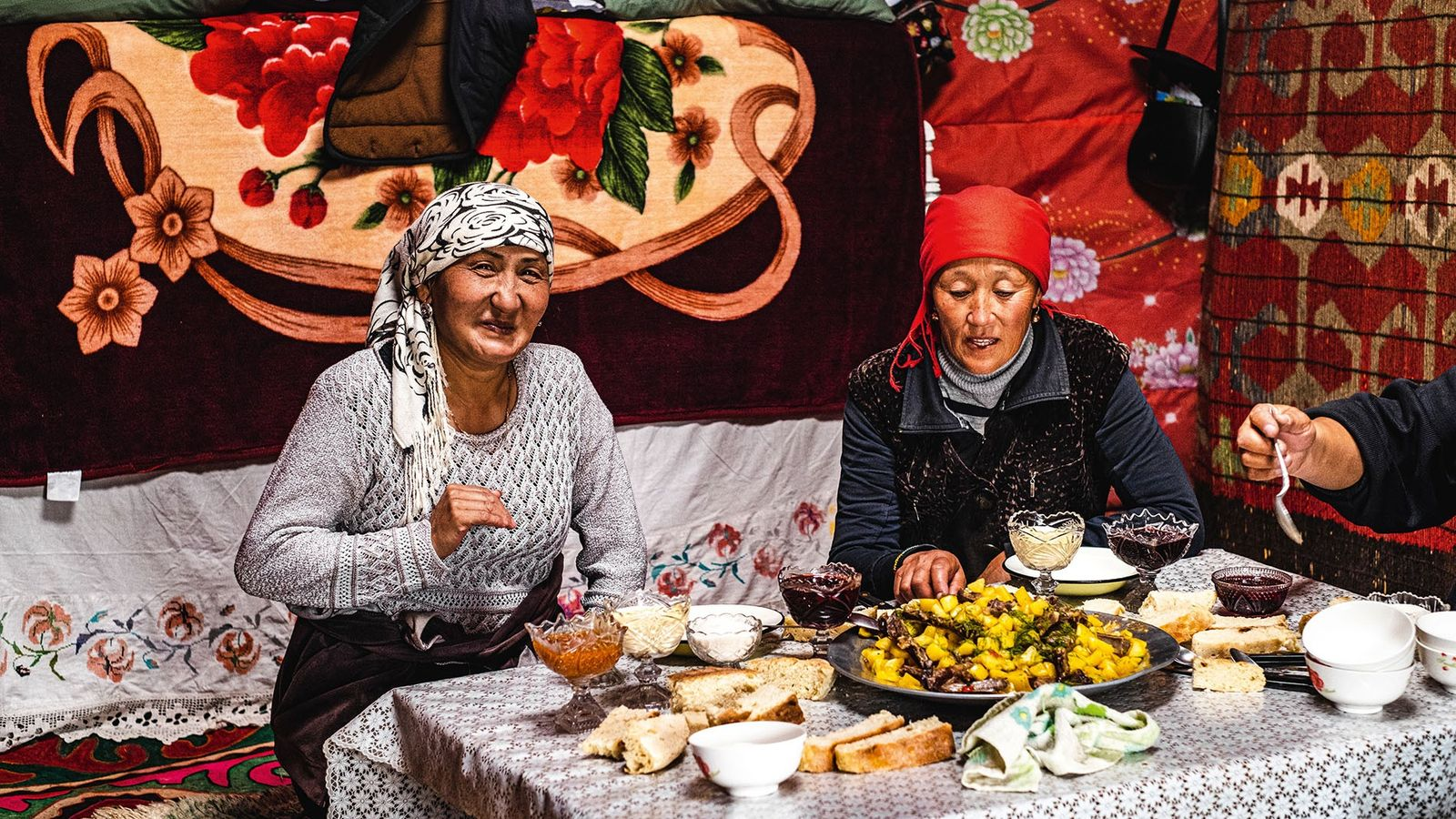 Eating kurdak with a shepherd family. This traditional nomadic dish is, like plov, a one-pot specialty ...