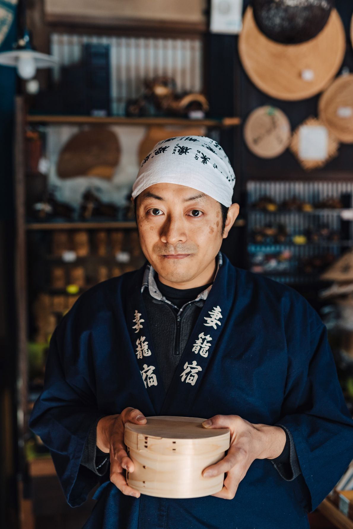 Ito-san makes traditional bent-wood boxes and containers inside his little shop, Marutaya, in the heart of ...