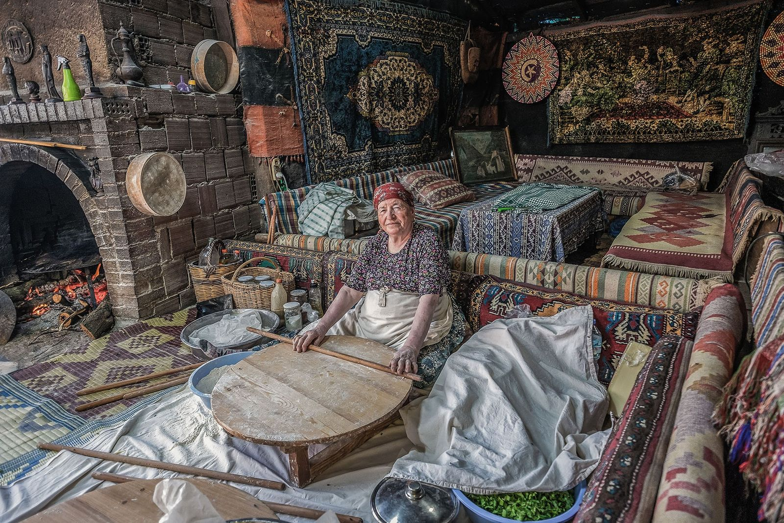 In a village outside Pamukkale, a womansets about making 'gozleme', a local spinach and feta pie.