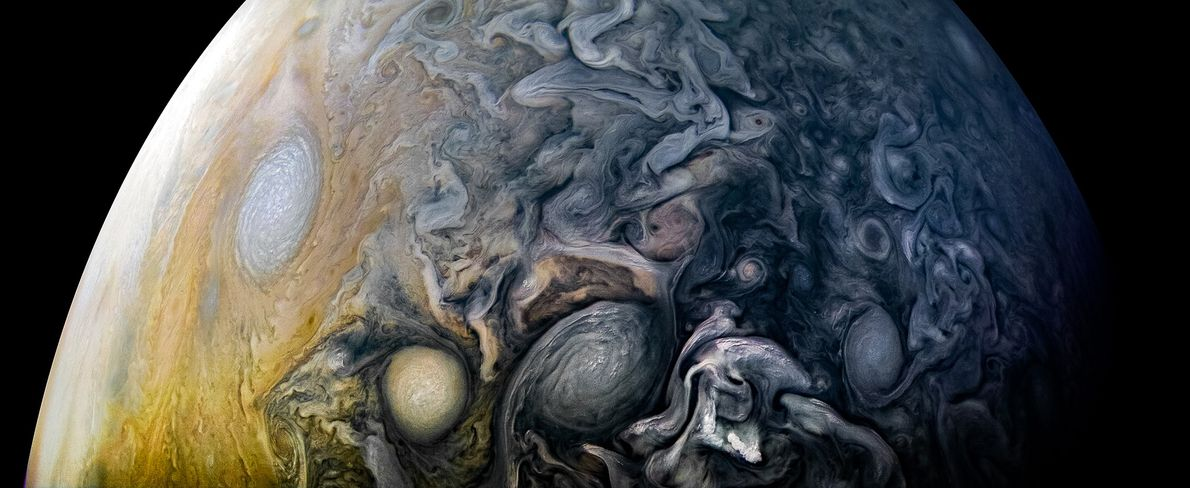 Clouds in Jupiter's northern hemisphere swirl in intricate patterns in this image from NASA's Juno spacecraft. ...