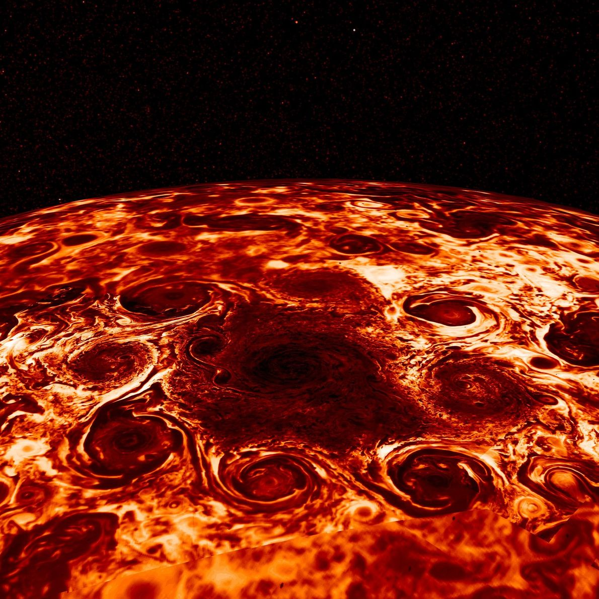 A cyclone at Jupiter's north pole is flanked by eight smaller vortices in this picture from ...