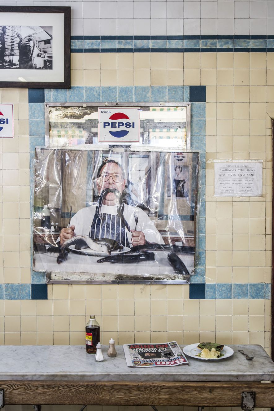 Photograph in a pie 'n' mash shop