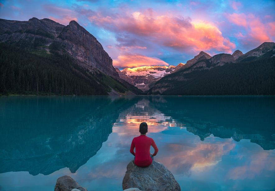 Capturing sunrise on Lake Louise.