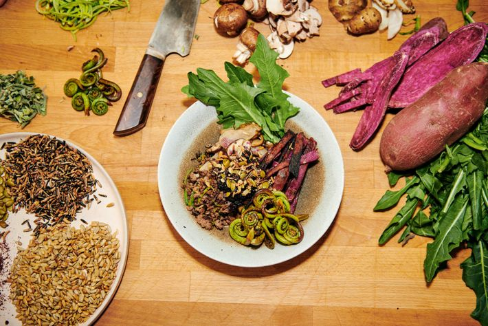 Sean shares his recipe for bison & hominy bowl with blueberry wojapi.